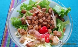 рецепт салата цезарь с креветками пошагово