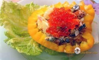 Салат из мидий овощной с икрой. Рецепт от Petr de Cril'on