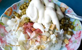 салат из консервированной сайры риса яиц, салат с рисом и сайрой рецепт